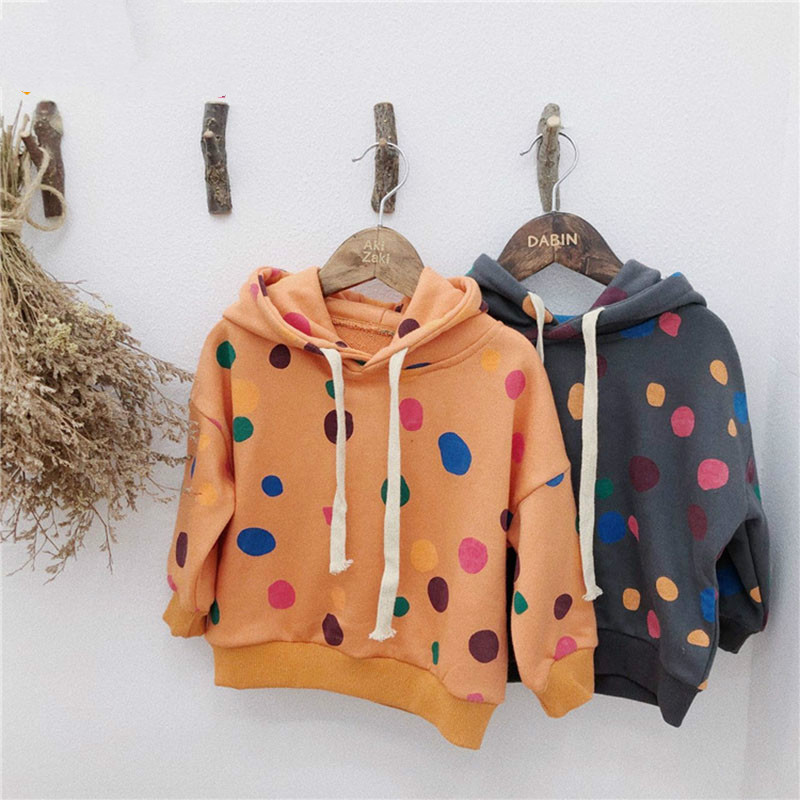 Sweatshirt Long-Sleeve Baby-Girl Autumn Cotton Dot Cute Spring Hooded for Casual Infants