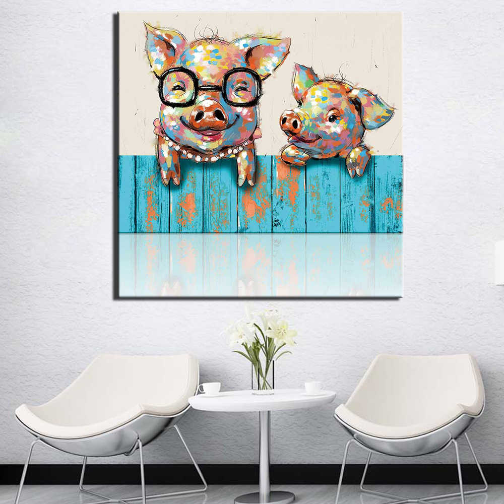 Posters Print Canvas Painting Abstract Pig Pictures for Living Room Home Decorative Modern Wall Art Cartoon Pigs for Kids Room