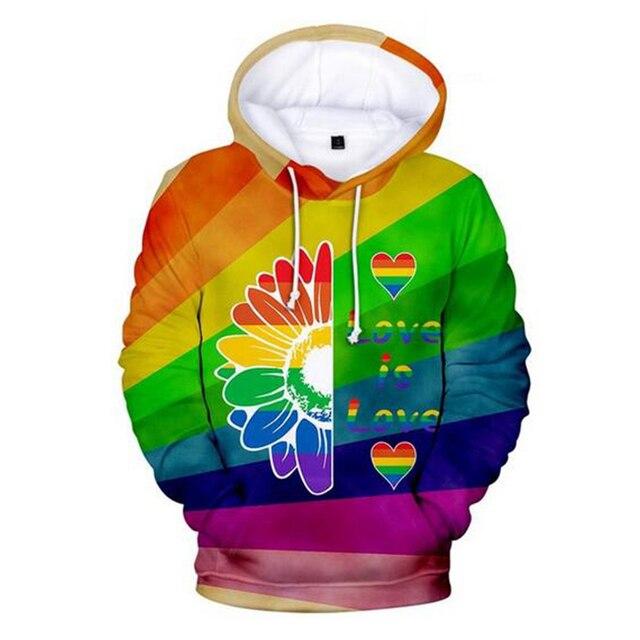 Colorful Rainbow LGBT Hoodies Sweatshirt Men Women For Lesbian Gay Pride LGBT Hoodie Fashion Casual Pullover Hooded Sweatshirts 4