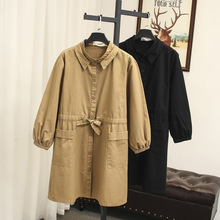 Mooirue Plus Size Women Trench Cotton Cot Bow Pockets Loose Streetwear Vintage Casual Cardigan Khaki Black Long Outwear