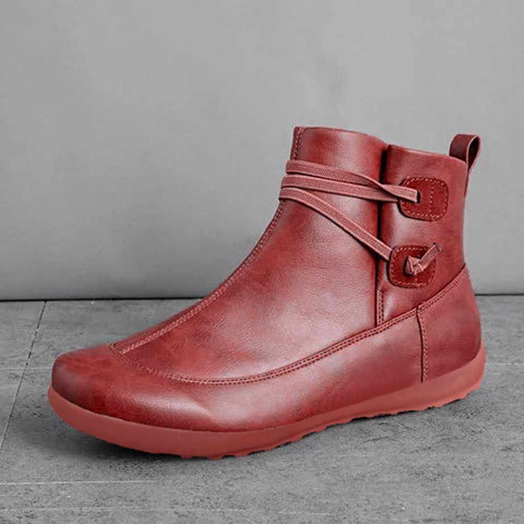 Kadın deri yarım çizmeler kadın sonbahar kış çapraz Strappy Vintage kadınlar serseri çizmeler düz bayan ayakkabıları kadın Botas Mujer
