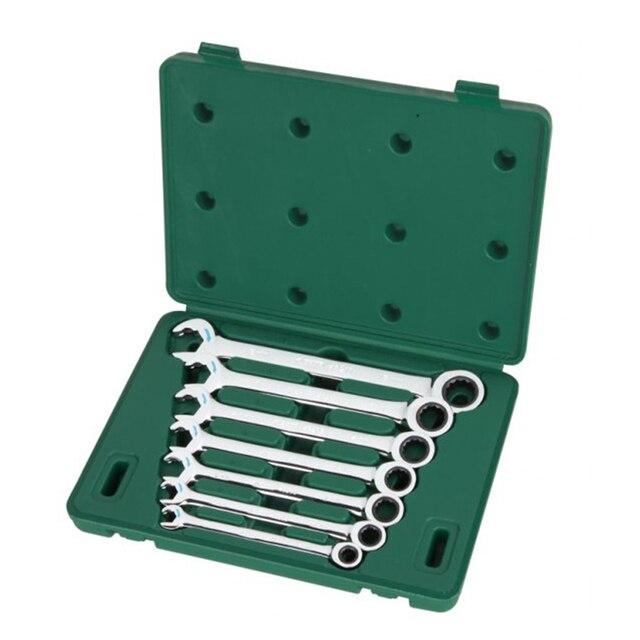 sata 09024 для Ключи (набор) 7пр. Комбинированные с трещот./механизм пласт.кор. Инструменты для ремонта автомобиля