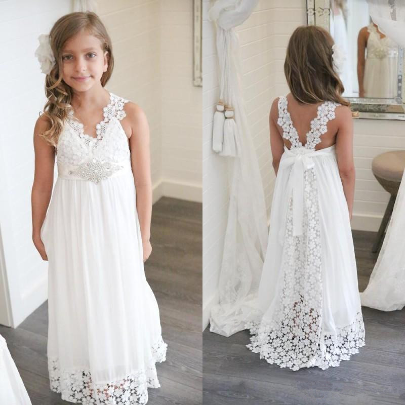 Boho Flower Girl Dress For Wedding Beach V Neck A Line Lace And Chiffon Kids White Wedding Gowns Custom Made