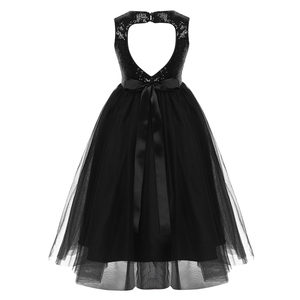 Image 3 - Kids Girls Sequins Heart Shaped Cutout Back Flower Girl Dress Princess Pageant Wedding Bridesmaid Birthday Party Gowns Dress