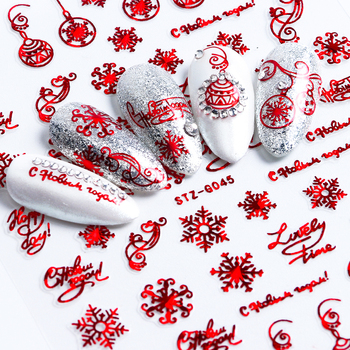 1pc 3D Nail Art Christmas Slider Wraps Snowflake Elk Santa Adhesive Flame Sticker Red Gold Manicure Nails Designs CHSTZG041-049