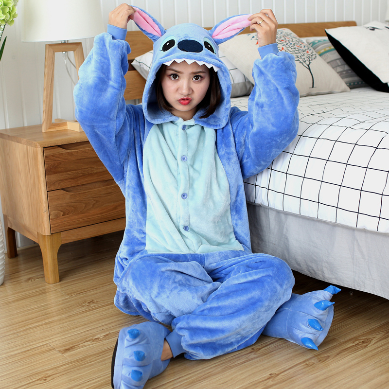 Winter Unicorn Pajamas Kigurumi Stitch Animal Sleepwear Panda Onesies Women Men Unisex Adult Flannel Nightie Home Clothes Sets