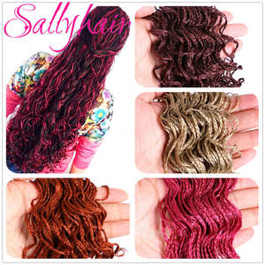 Sallyhair Crochet-Hair Braids Synthetic-Hair-Extensions Purple Colored Blonde 28strands/Pack