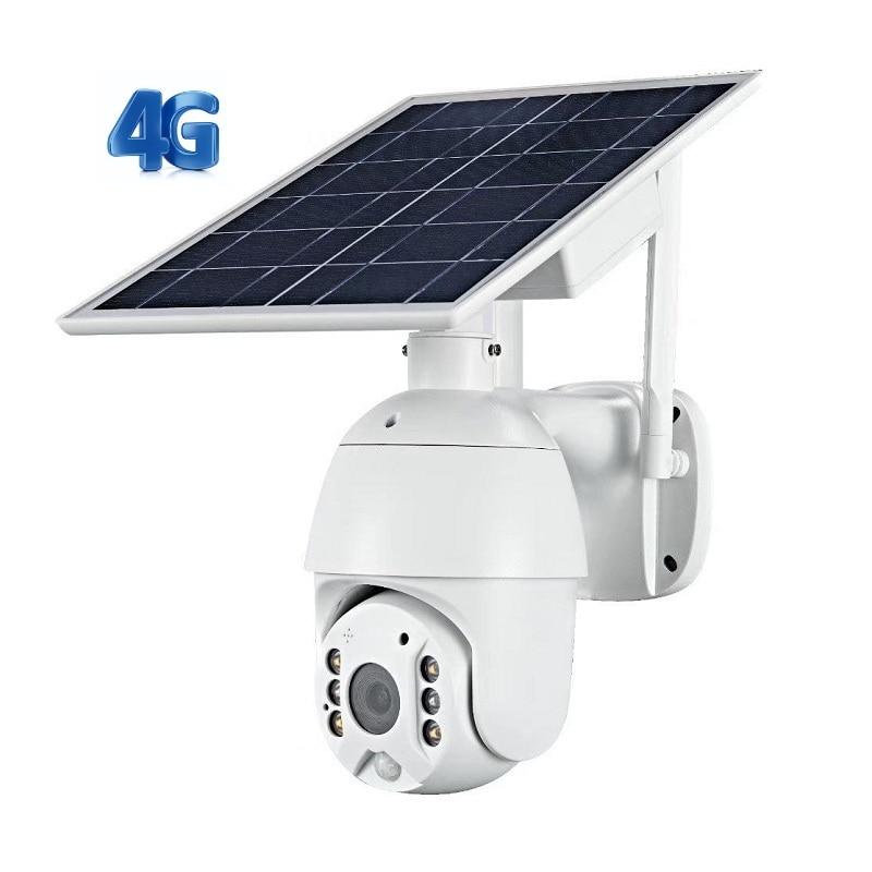Outdoor 1080P PIR Motion Alarm Video Surveillance Solar 4G PTZ IP Security Camera with 2-way Audio