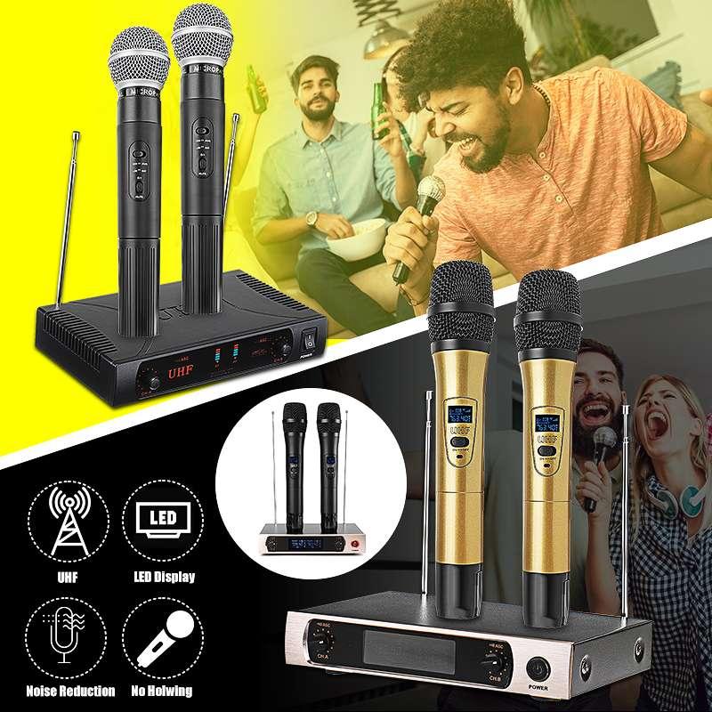 KINCO U26 220V UHF longue portée double canal 2 émetteur micro portable professionnel karaoké UHF système de Microphone sans fil