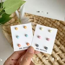 Três-peça doce cor fresco conjunto pequenos brincos bonito menina cor simples e requintado brincos selvagens atacado jóias kolczyki