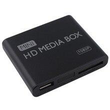Мини-медиаплеер 1080 P мини HDD медиаплеер ТВ коробка видео мультимедийный плеер Full HD с SD карт-ридер 100 Mpbs AU EU US Plug