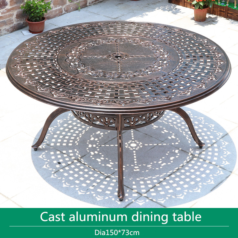 Dia150cm Round Cast Aluminum Patio Dining Table Outdoor Tables For Garden Chairs Durable In Bronze / Black Color|Garden Furniture Sets| - AliExpress