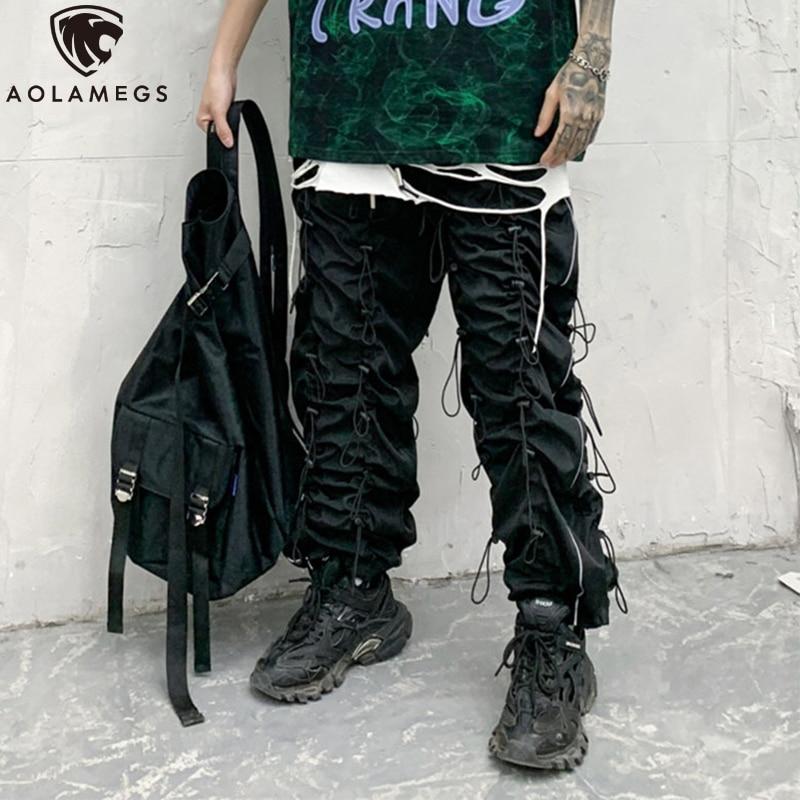 Aolamegs Men Pants Multi-Drawstring Zipper Pockets Sweatpants Elastic Waist Pencil Trousers High Street Style Hipster Streetwear