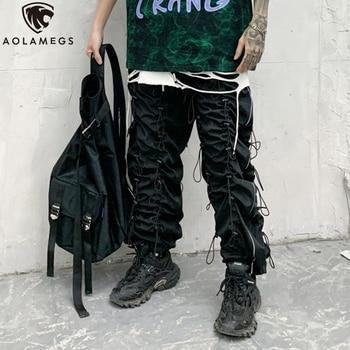 Aolamegs Men Pants Multi-Drawstring Zipper Pockets Sweatpants Elastic Waist Pencil Trousers High Street Style Hipster Streetwear grey casual drawstring waist zipper design pants with four pockets