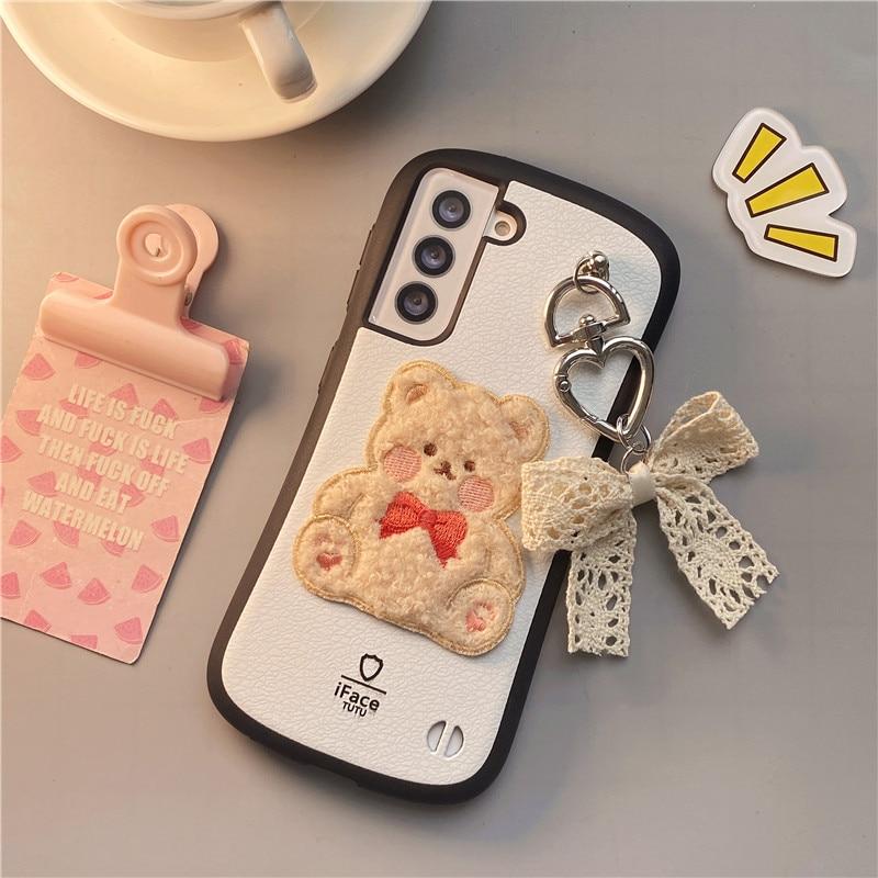 For Galaxy S21 Ultra S21 5G S21+ Korean Cartoon Cute Embroidery Bear Bow Phone Case For Samsung Ultra S21 Cover Small Waist
