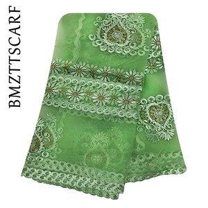 Image 4 - 2020 New African women scarf muslim embroidery net scarf hijab scarf big size scarf for shawls BM956