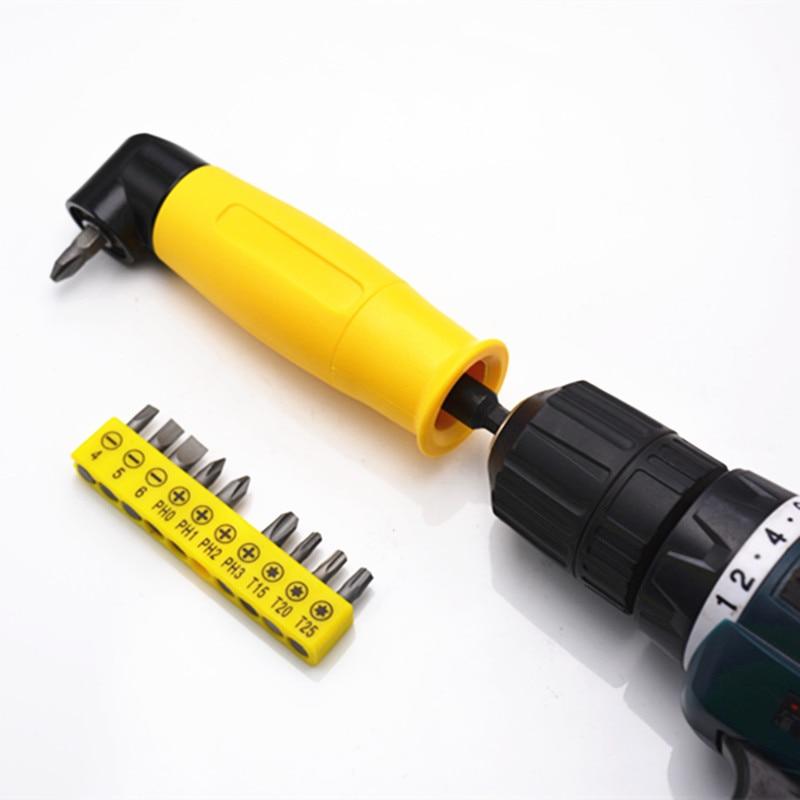 90 Degree Bend Electric Screwdriver Bit Offset Screwdriver Right Angle Electric Screw Driver Head Extension Drill Bit Holder