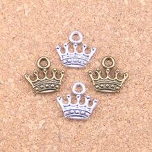 145 pçs encantos coroa 13x14mm pingentes antigos, vintage tibetano jóias de prata, diy para pulseira colar