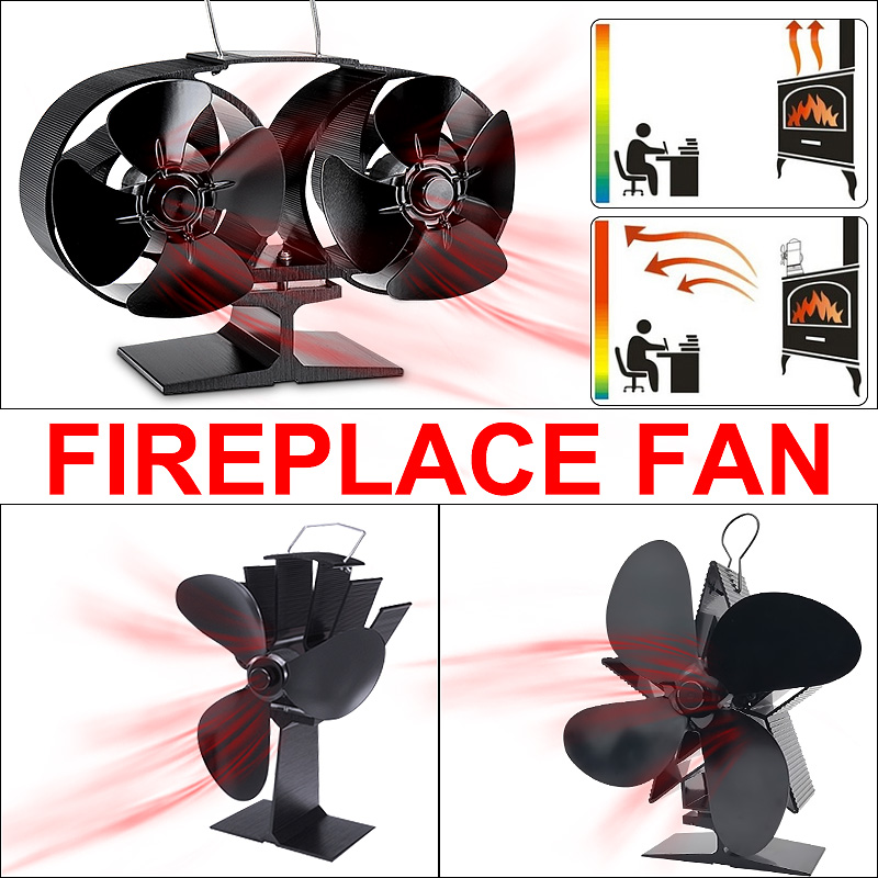 3/4/8 Blades Stove Fan Heat Powered Fireplace Fan Wood Burner Eco Friendly Quiet Heat Distribution Home Efficient Stove Fan