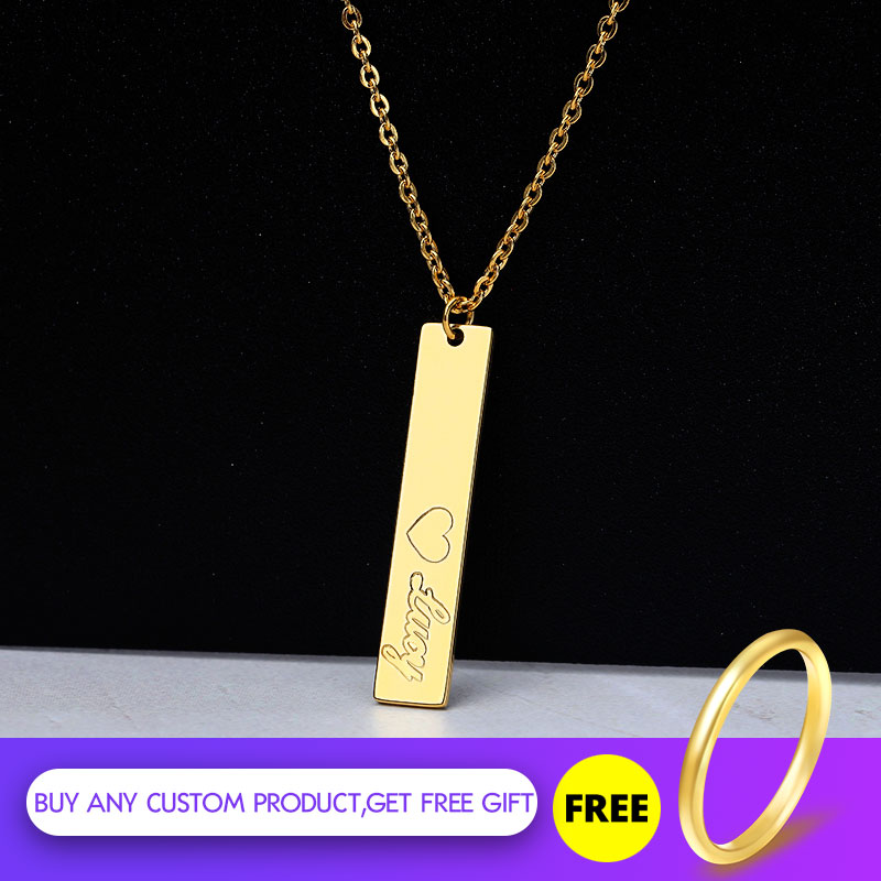 Custom Gold Color Vertical Bar Couple Necklace Stainless Steel Engraved Girls Bridesmaid Gift BFF Jewelry Accessories