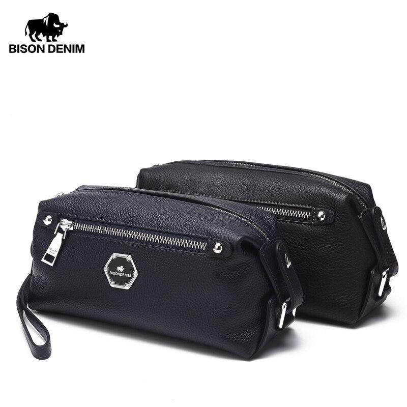 BISON DENIM Cowskin Leather Clutch Bags For Men Genuine Leather Long Wallet Zipper Pocket Designer Soft Brand Men Purse N8063