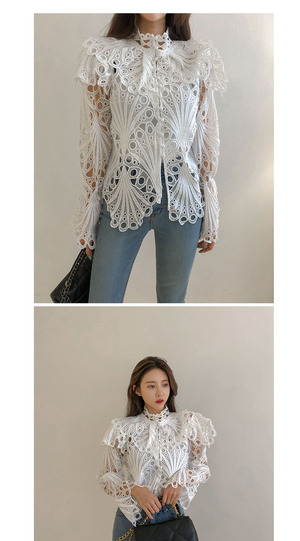 Hfcda347332cb4b96816272c32a5c09f3b - Spring / Autumn Stand Collar Flare Long Sleeves Hollow Out Blouse with Tank Top