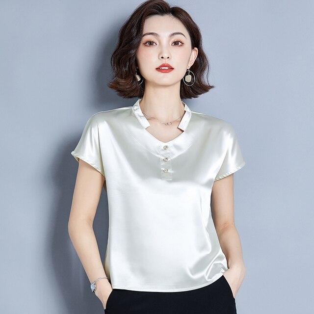 Korean Silk Women Blouse Shirt Women Silk V Neck Blouse Tops Woman Solid Satin Blouses Top Plus Size Blusas Femininas Elegante 2