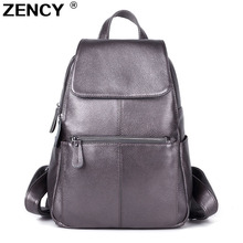 ZENCY 2020 Nice Backpack 100% Soft Genuine Cow Leather Cowhide Womens Female Top Layer Cow Skin Girl School Book Bags knapsack