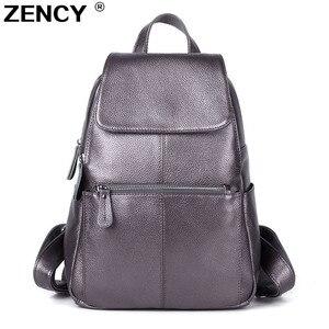 Image 1 - ZENCY 2020 mochila bonita 100% cuero de vaca genuino suave mujer capa superior de piel de vaca chica mochila escolar mochila