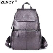 Zency 2020 nice mochila 100% macio genuíno couro de vaca feminina camada superior da pele vaca menina escola sacos de livro mochila