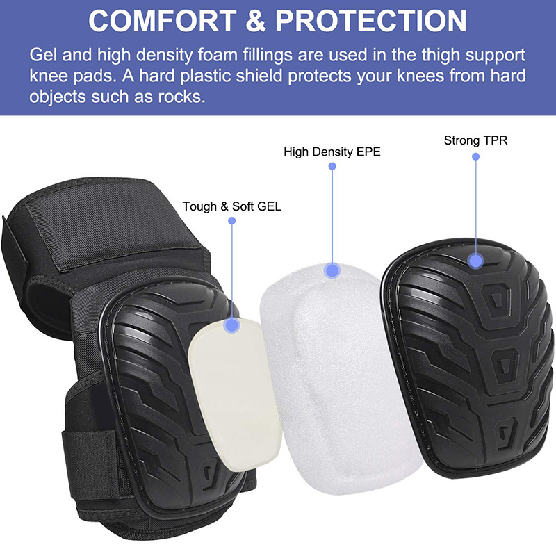 Work Knee Pads With Gel Padding Adjustable Straps For Gardening Construction Works UND Sale