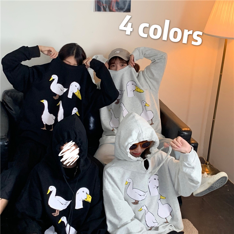 Cute Small Duck Pattern Print Hoodie Autumn Fashion Casual Hip Hop Fitted Clothes Harajuku Long Sleeve Preppy Style Sweatshirt