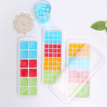 Clearance Sale DIY Large Plastic Ice Cube Mold Square Shape Tray With Lid Fruit Cream Maker Bar Kitchen Accessories