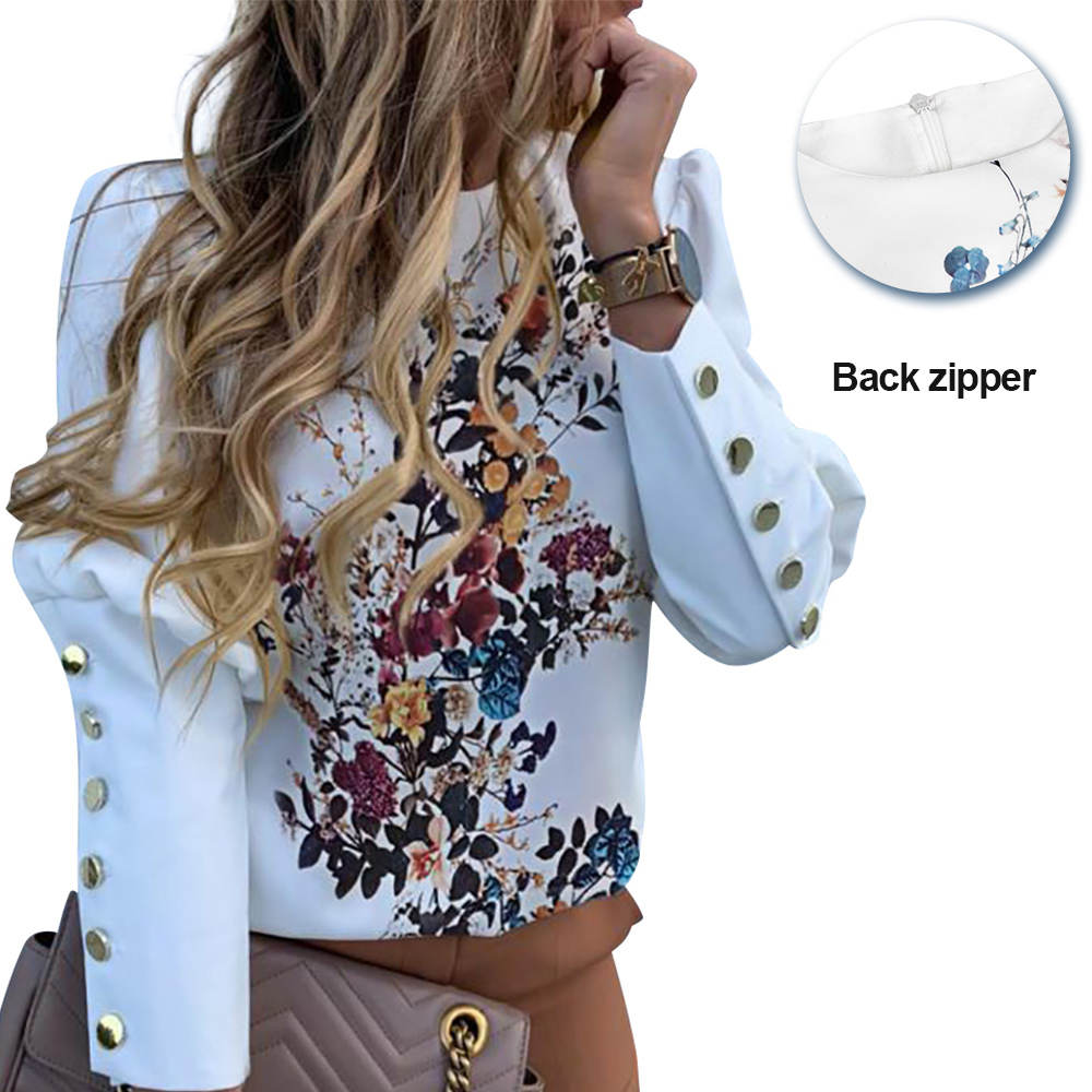 Floral Printed Puff Sleeve Shirts Letter Tops Metal Button Detail Fashion Casual Blouse Office Ladies Blouse Female D20