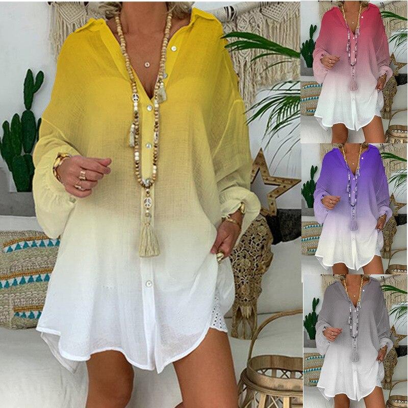Long Sleeve Plus Size Linen Shirt Women Gradient print Button Down Shirt for Women Loose Cotton Blouse Tops Korean Woman Clothes