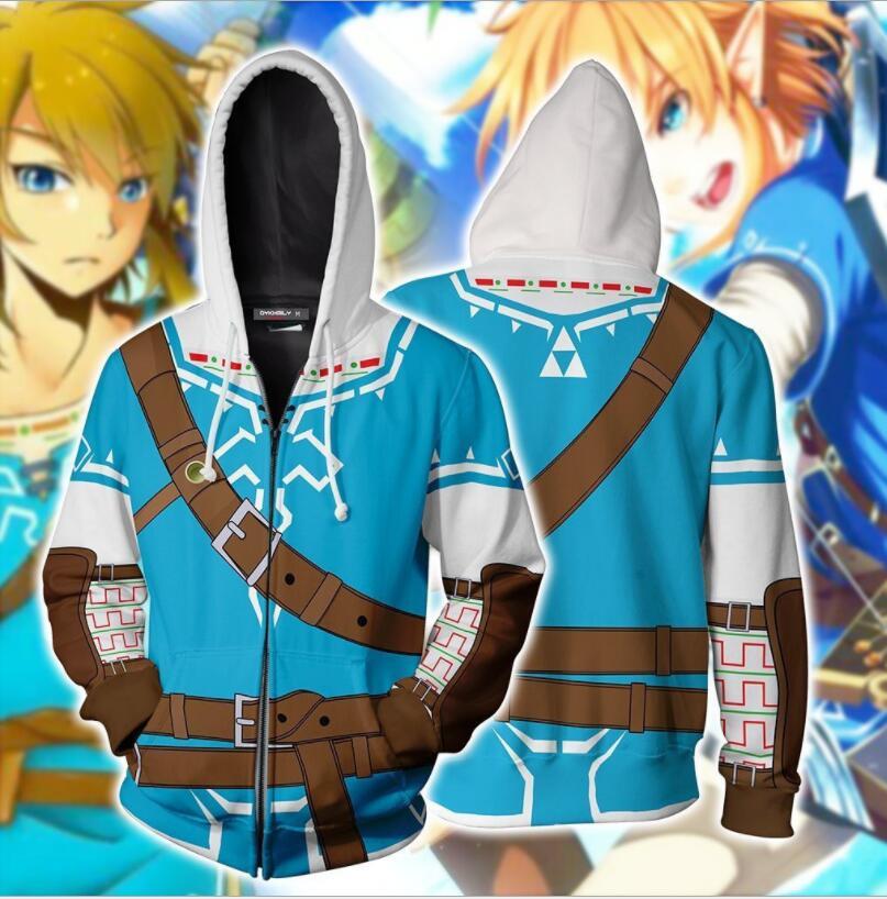 Legend Of Zelda Hoodie Sweatshirt Men Hoodies Male Sweatshirt Tops Full Zipper Hoodies Jackets Mens Long Sleeves Coats Autumn