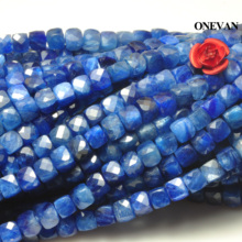 ONEVAN A+ Blue Kyanite Faceted Square Beads 4mm Smooth Loose Round Stone Diy Bracelet Necklace Jewelry Making Charm Gift Design csja long necklace collier silk tassel pendant knotted abalone shell 4mm matte crystal faceted beads charm jewelry handmade s055