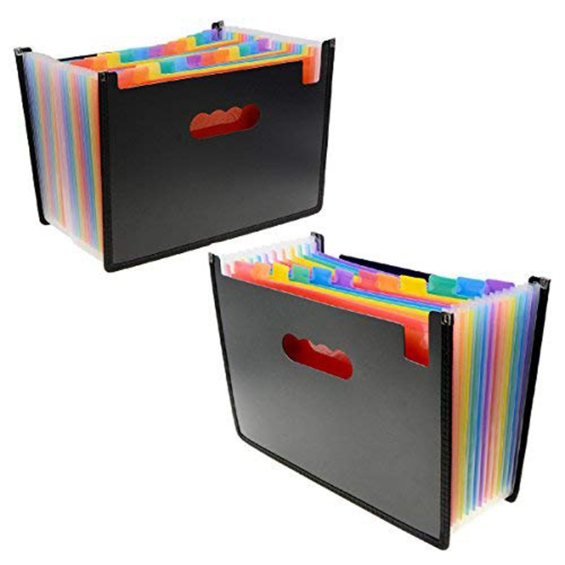 File Folder Organizer 12 24 Pockets Document Organizer Wrap And File Guides, Multi-Color Accordion A4 Size With Expanding Wallet