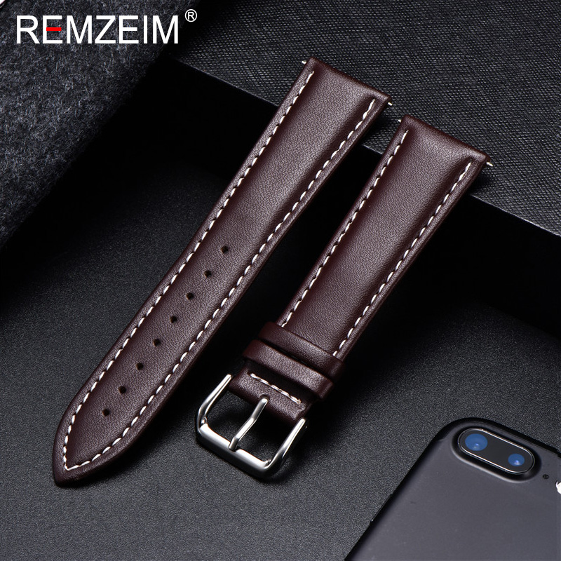 REMZEIM Watch Band Genuine Leather Straps Watchbands 18mm 20mm 22mm 24mm Watch Accessories Women Men Brown Black Belt Band
