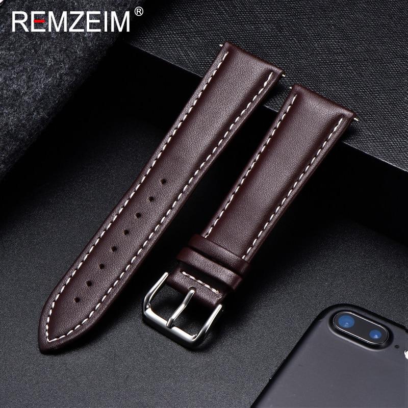 REMZEIM Watch Band Genuine Leather Straps Watchbands 18mm 20mm 22mm 24mm Watch Accessories Women Men Brown Black Belt Band