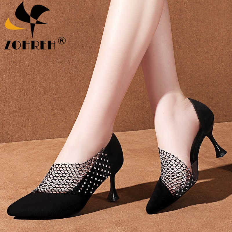 2019 Crystal Sexy Wedding Party Shoes for Women High Heels Sandals Pointed Suede Pumps Women Shoes Thin Heels Summer Shoes Woman