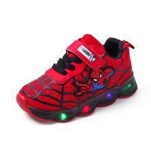 Детская обувь со светящимися вставками «Человек-паук» для мальчиков и девочек; светильник; Детские светящиеся кроссовки; спортивная обувь с сеткой для мальчиков и девочек; светодиодный светильник