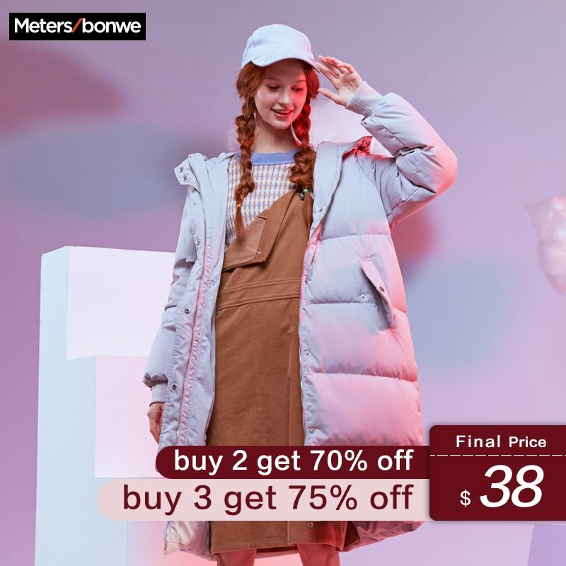 Metersbonwe New Long Warm Down Jacket Women Winter Warm 80% White Duck Down Hooded Female Outdoor Coat Winter Outwear