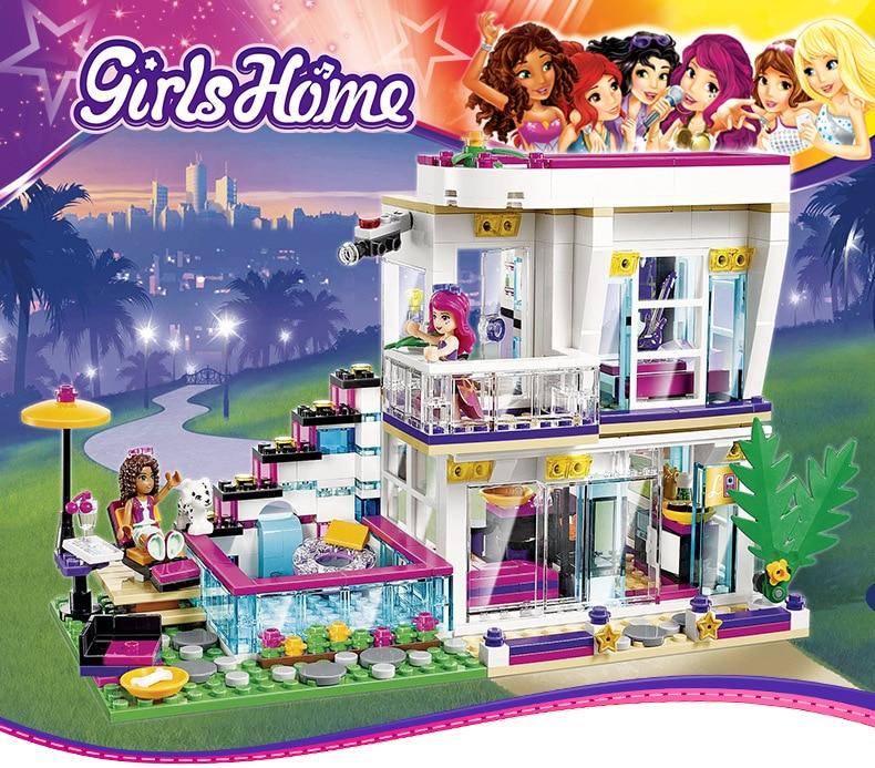 New 619pcs Friends Series Livi's Pop Star House Building Blocks Andrea Mini-doll Figures Toy Compatible With Legoinglys Friends