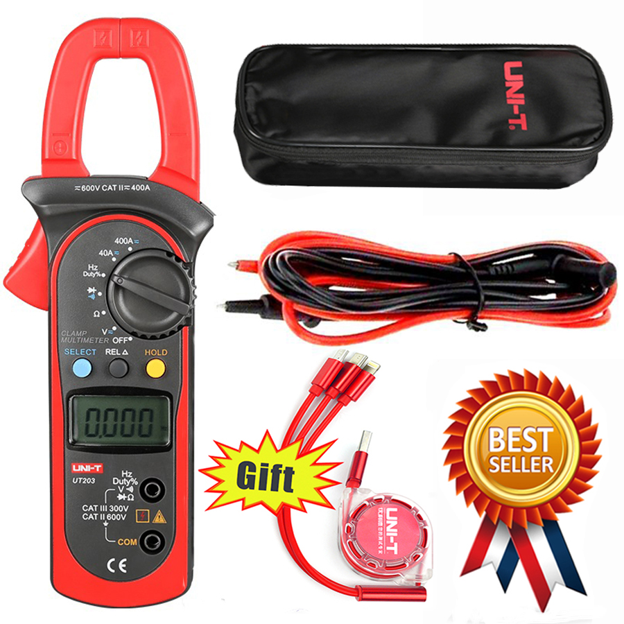 UNI-T UT203 400A AC DC Digital Clamp Meter Resistance,Frequency Test Duty Cycle Relative Measurement Digital Hold Auto New