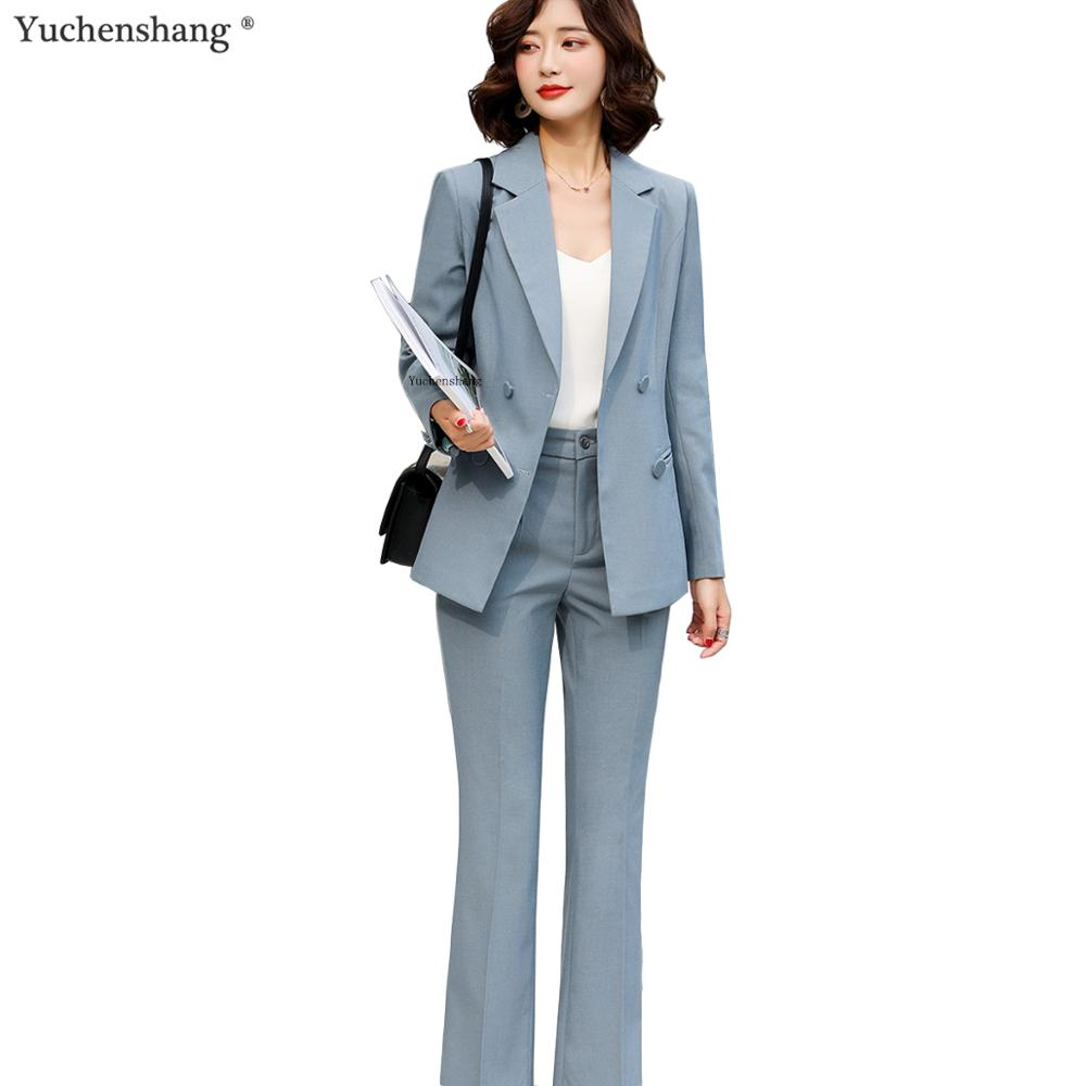 Casual Pants Suits Women Fashion Temperament Long Sleeve Blazer And Pants For Office Lady Business Work Wear Blue Black Apricot