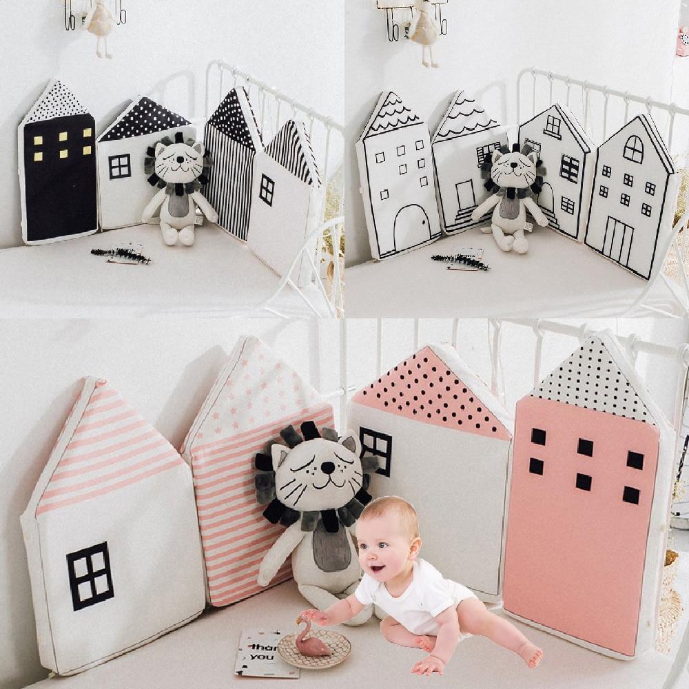 4 Uds cama de bebé parachoques INS patrón de casa pequeña cuna Protección infantil cuna de algodón cuna suave guardia segura decoración de la habitación de la cama del bebé