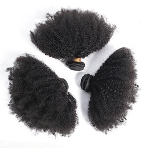 Image 2 - ガブリエルモンゴルアフロキンキーカーリーヘアバンドル 8 20 インチ 100% 人毛バンドル 3/4 個のremy毛は織物ショートカーリーヘア
