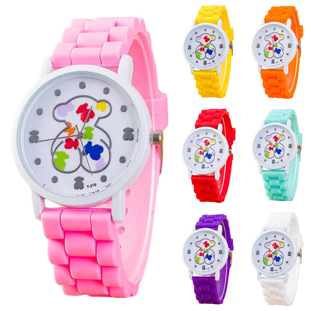 Seven Color Cute Cartoon Pattern 30 Meters Waterproof Bear Silicone Strap Quartz Wrist Watch Children Watch Gift