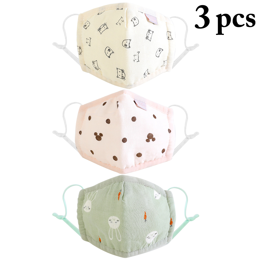 3PCS Breathable Cartoon Printing Mouth Cover Fashion Cute Adjustable Cartoon Anti Dust Cute Mouth Mask For Baby Children